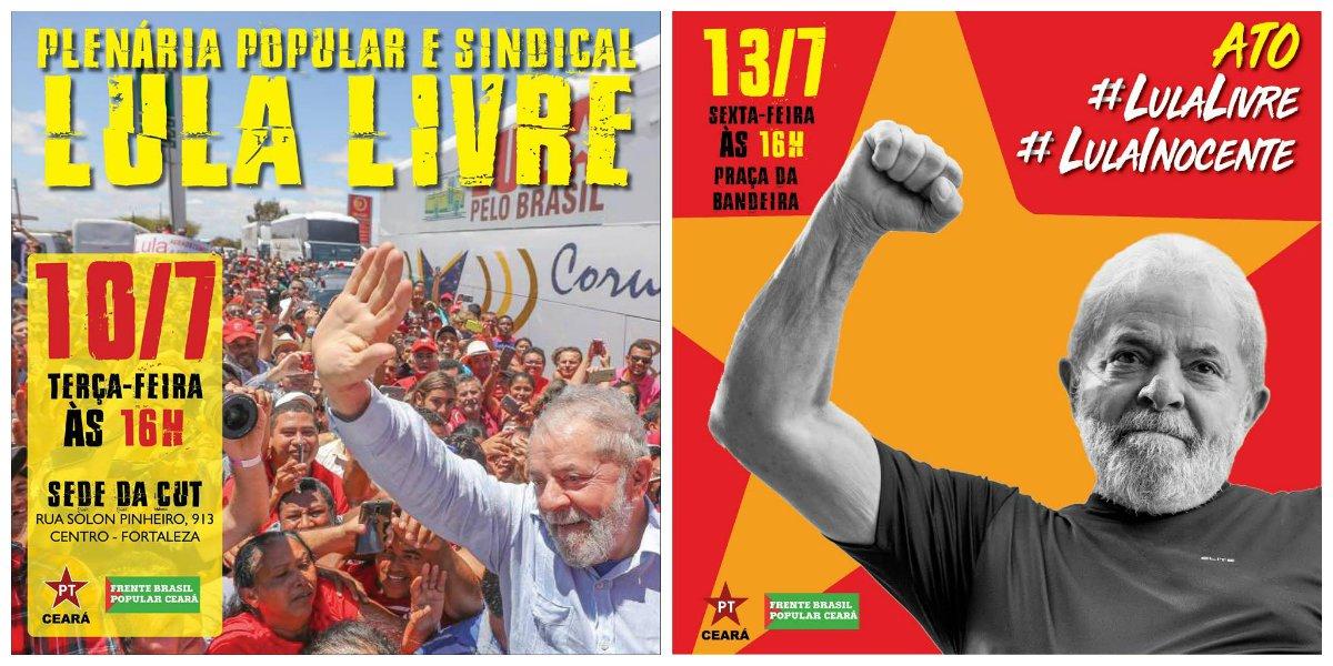 """PT Ceará intensifica mobilização por """"Lula Livre"""""""