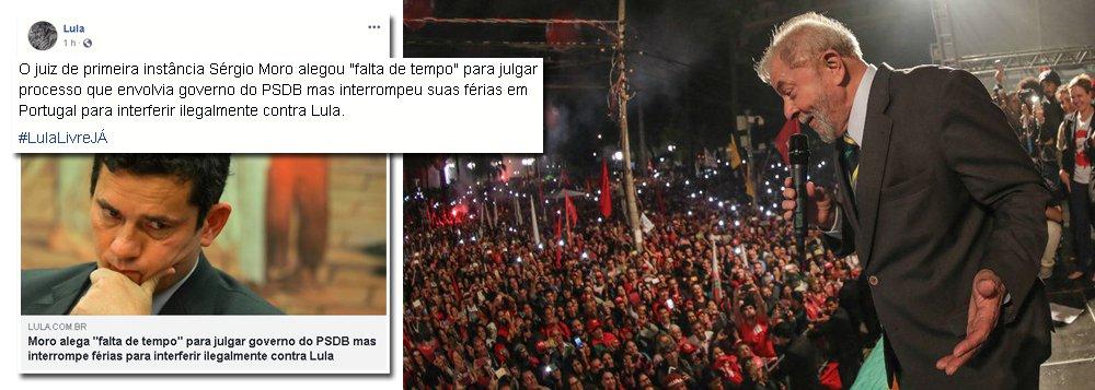 Lula: Moro 'não tem tempo' para julgar PSDB e trabalha nas férias contra PT
