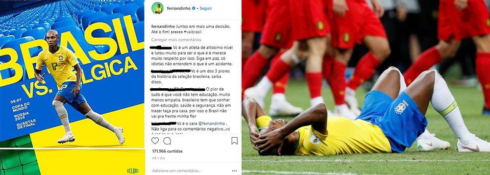 Fernandinho recebe solidariedade depois de ataques racistas