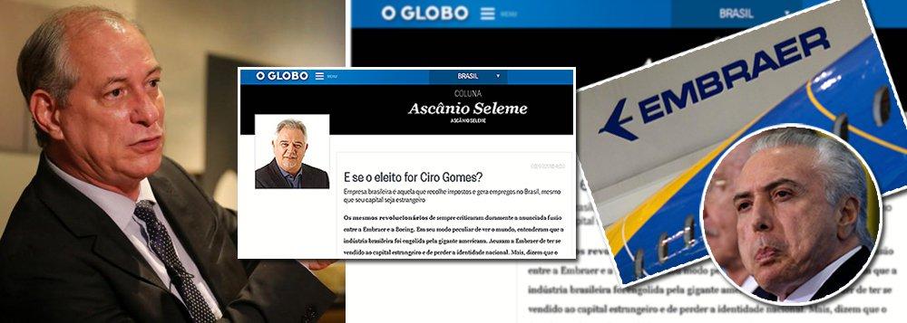 Globo quer pressa na venda da Embraer para evitar 'risco Ciro'