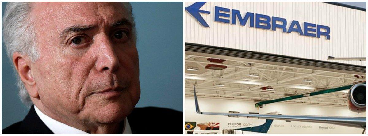 Metalúrgicos pedirão a Temer veto à venda da Embraer