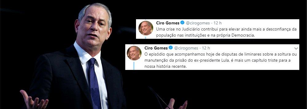 """Sem citar nomes, Ciro critica """"crise no Judiciário"""" em torno da liberdade de Lula"""