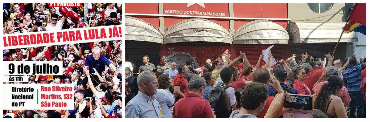 Militantes se reúnem em frente ao PT por Lula Livre