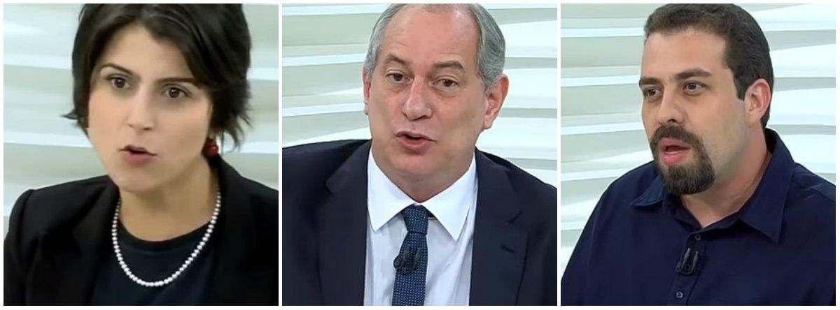 A diferença de tratamento entre Manuela, Ciro e Boulos reflete machismo e preconceito ideológico