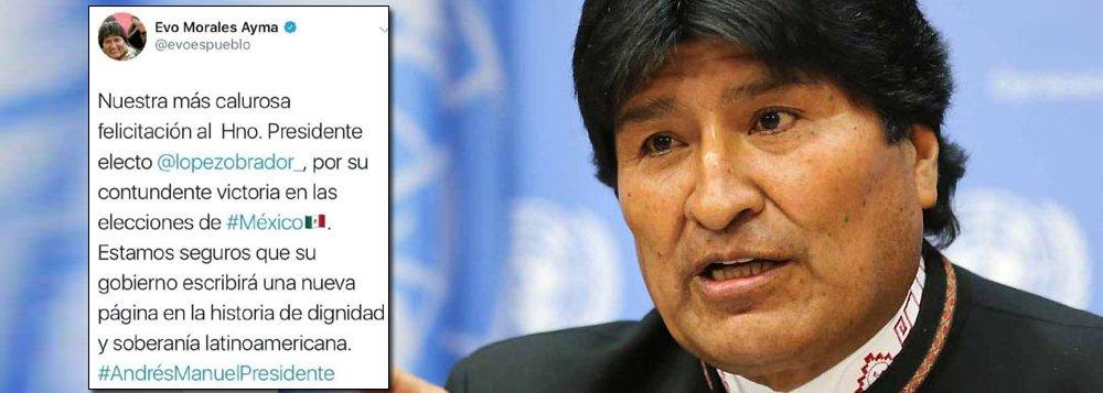 Evo Morales felicita Lopez Obrador e aponta para nova onda da esquerda na AL