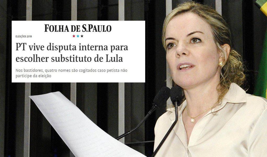 Gleisi critica fake news da Folha sobre suposto plano B de Lula