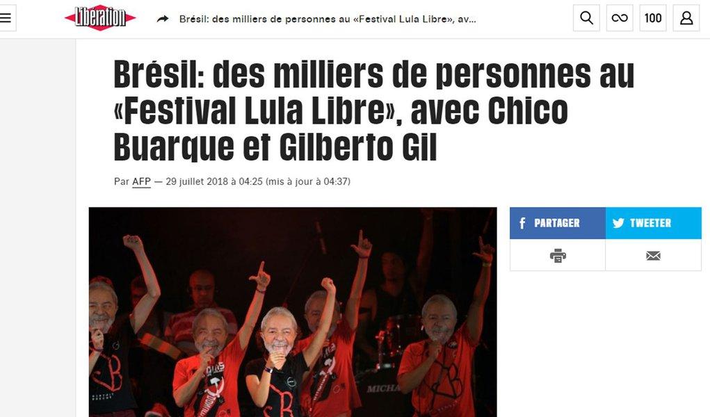 Imprensa francesa destaca milhares de pessoas no festival Lula Livre