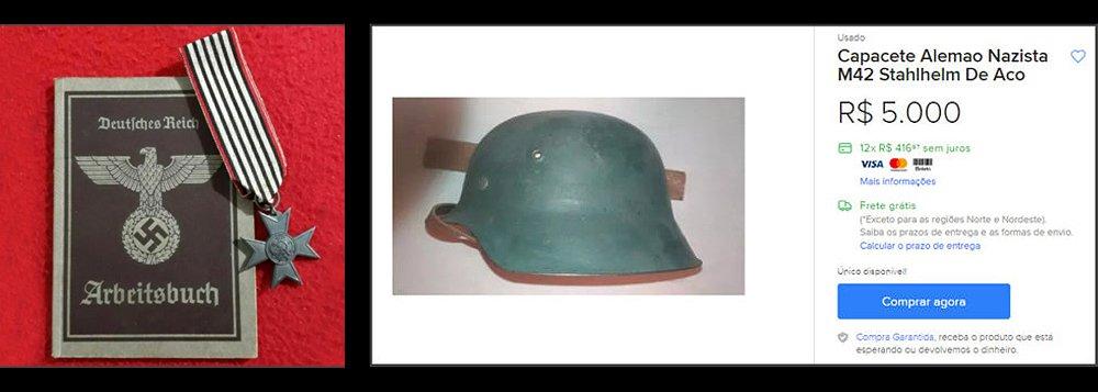 Uniformes, capacetes e itens originais nazistas são comercializados livremente em site