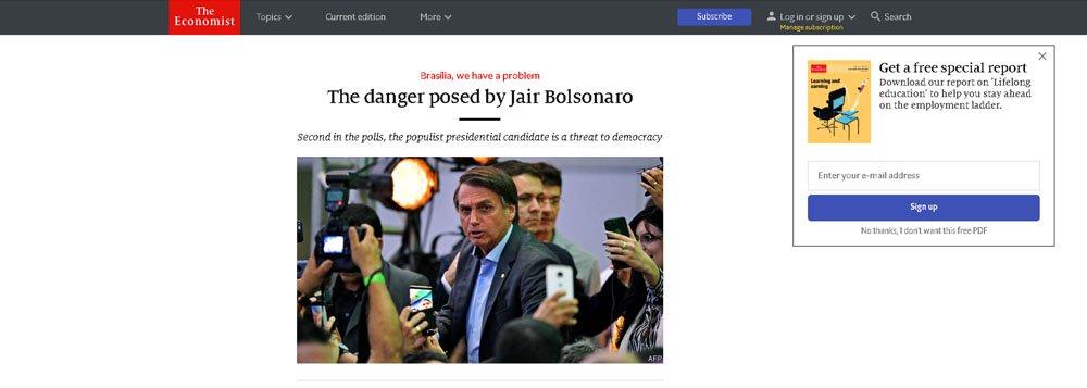 Economist diz que Bolsonaro é ameaça à democracia