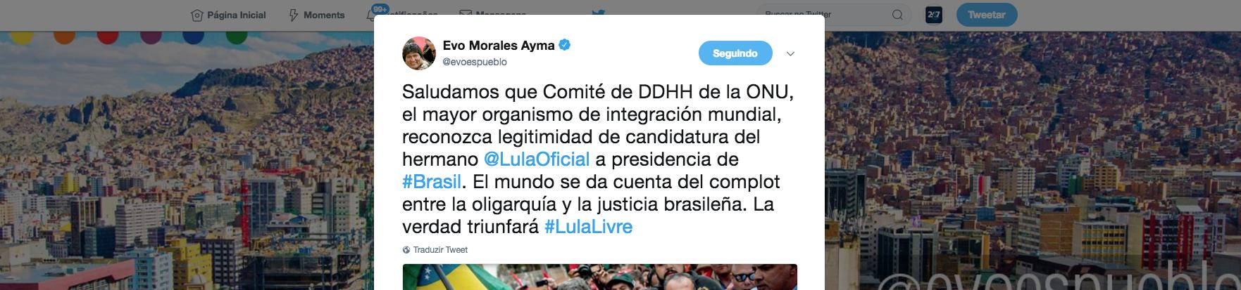 Morales celebra decisão da ONU e diz que mundo já vê complô contra Lula