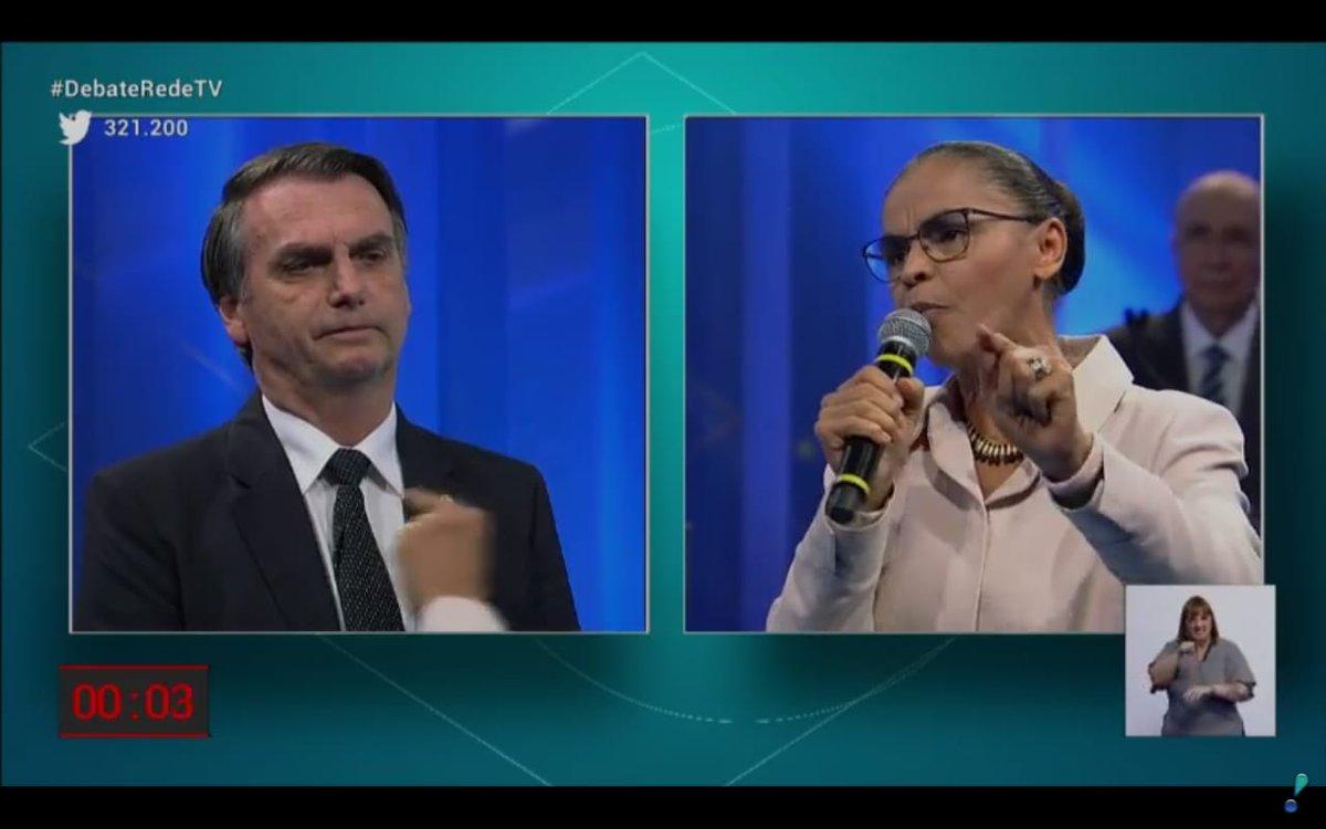 Em debate, Marina Silva pressiona Bolsonaro sobre mulheres e lembra que estado é laico