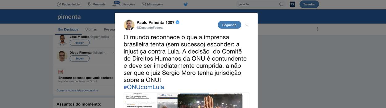 Pimenta: o mundo já sabe o que a mídia brasileira tenta esconder