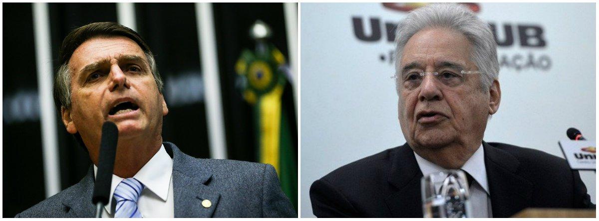Bolsonaro ataca FHC por falar em apoio ao PT