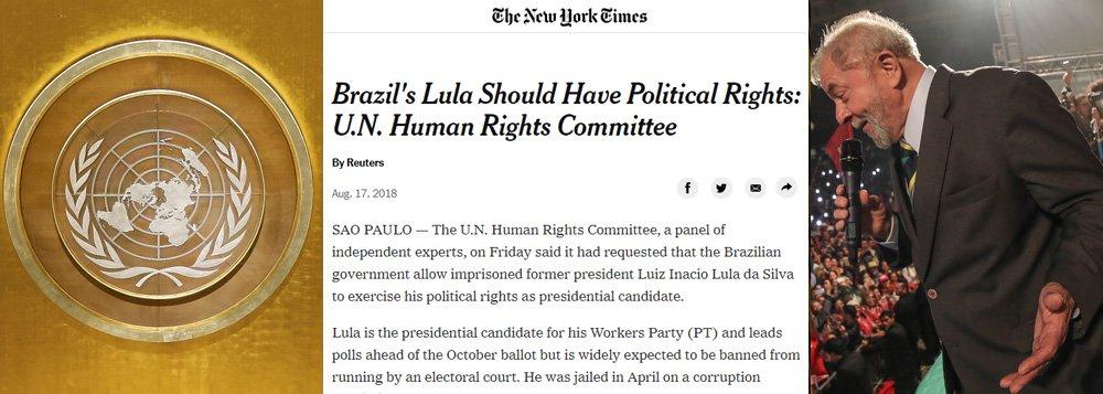New York Times destaca o que a mídia nacional esconde: ONU exige Lula nas eleições