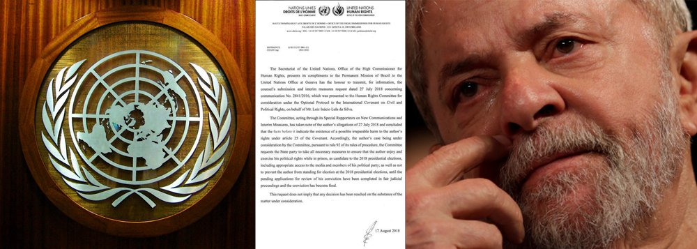 ONU pronuncia-se oficialmente: Lula tem direito de ser candidato