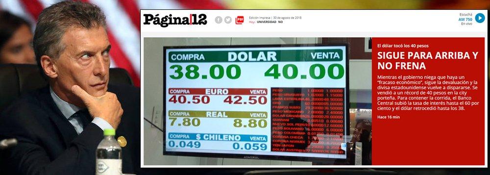Macri quebra Argentina e põe juros a 60%. Dólar vai ao recorde de 40 pesos