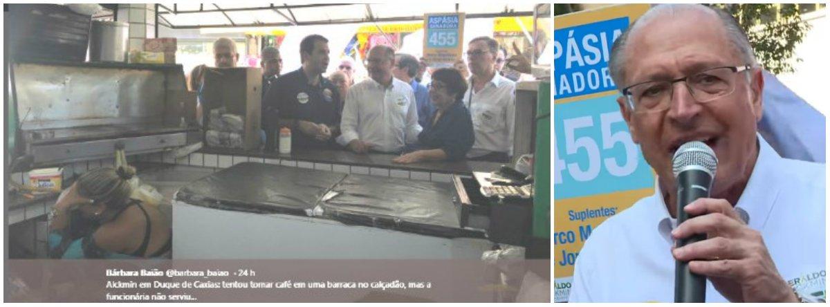 Alckmin tenta tomar café em Duque de Caxias e funcionária se esconde