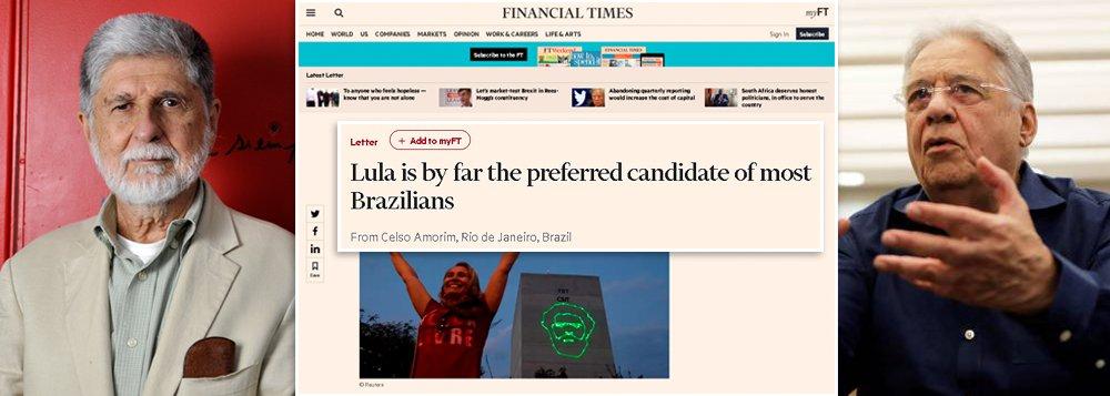 """No Financial Times, Amorim critica """"amargura"""" de FHC contra Lula"""