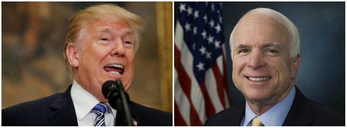 "Trump veta comunicado da Casa Branca que qualificava McCain como ""herói"""