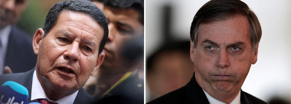Em áudio, Bolsonaro incentiva ataques de aliados ao vice Mourão