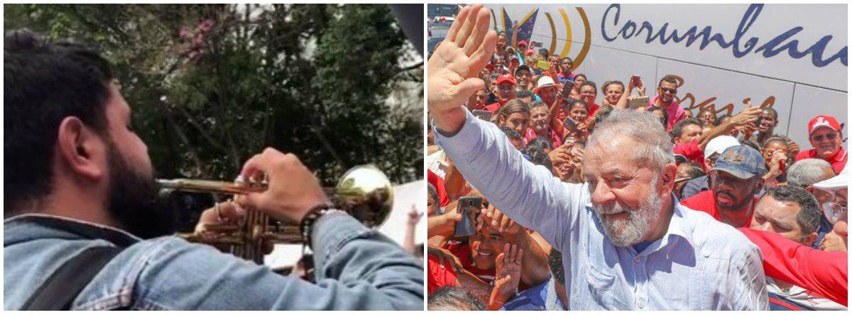 Ato surpresa com trompetista defende a liberdade de Lula em São Paulo