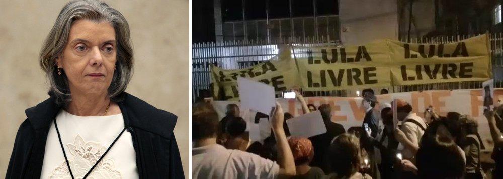 Manifestantes protestam em frente a casa de Cármen Lúcia em Belo Horizonte