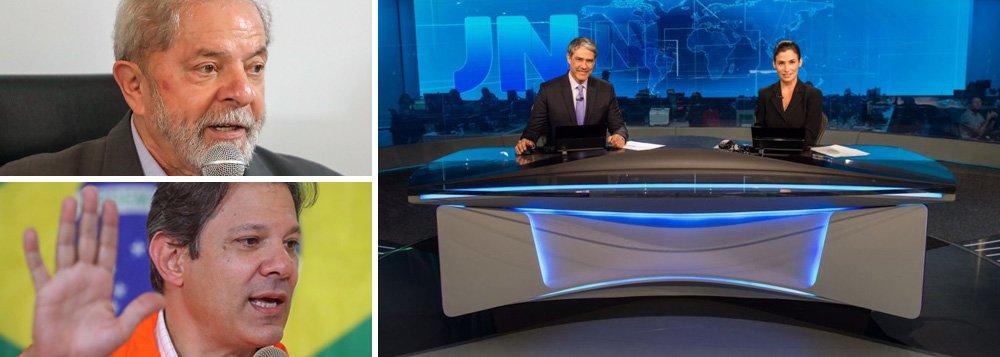 Guerra da Globo contra o PT: Lula e Haddad vetados no Jornal Nacional