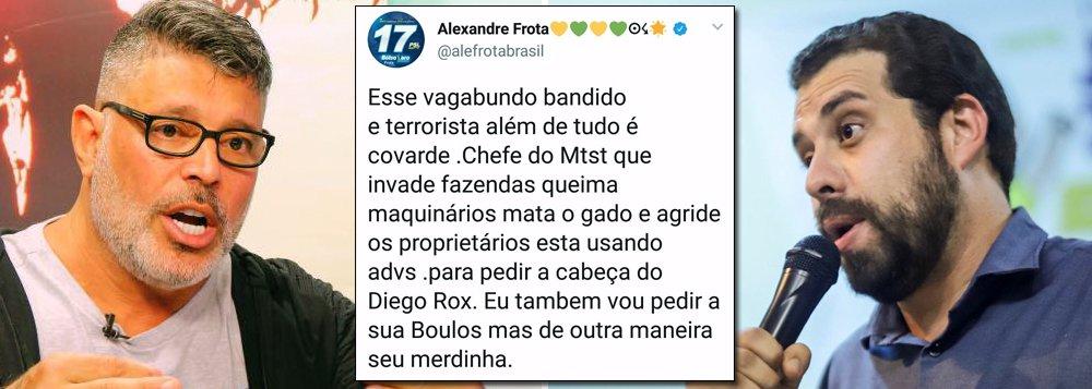 Alexandre Frota ameaça Boulos: vou pedir sua cabeça