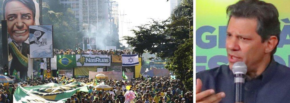 Haddad: mídia não condena fascistas e suas bandeiras contra democracia