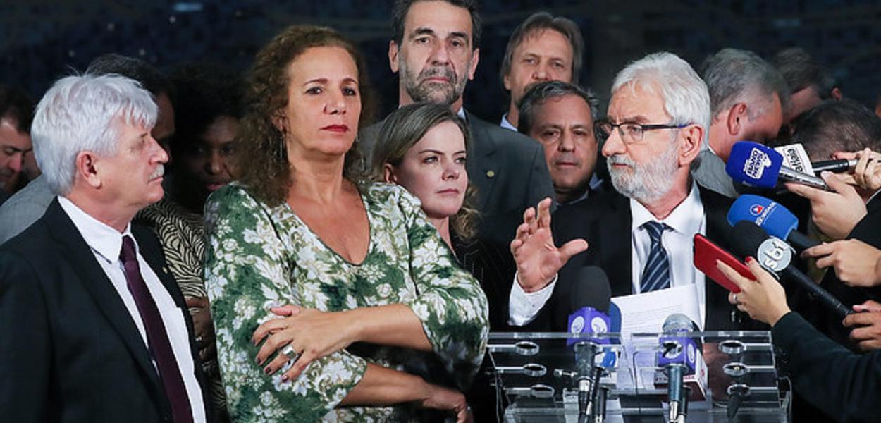 Brasília- DF. 18-06-2019- Coletiva da oposição no congresso.  Foto Lula Marques