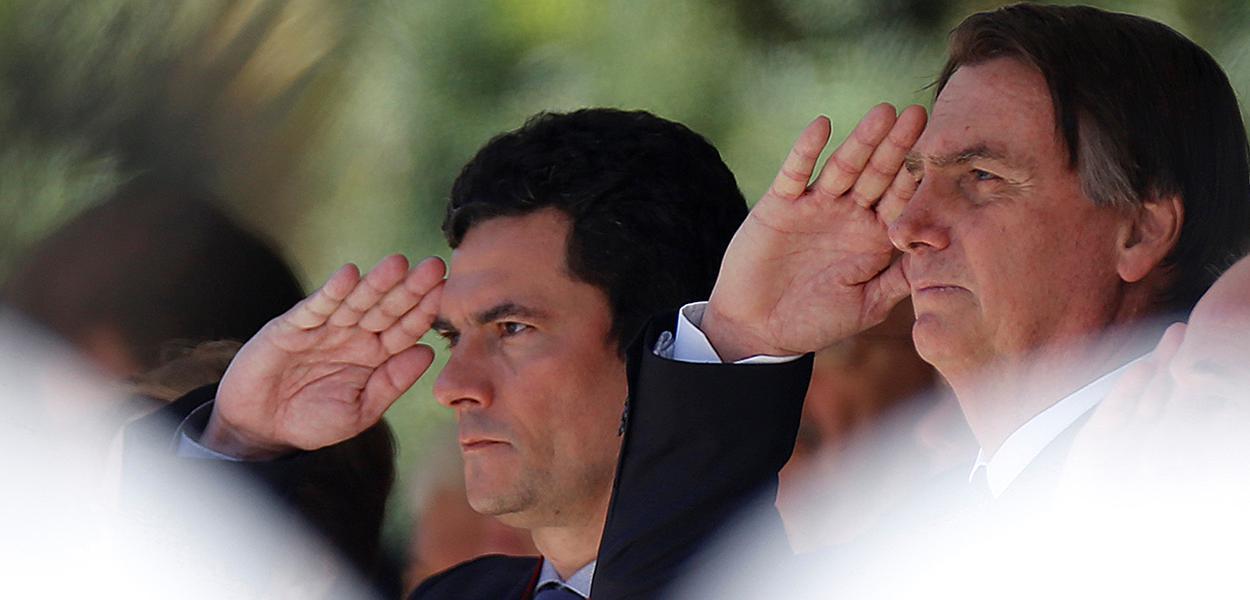 O presidente Jair Bolsonaro e o ministro da Justiça e Segurança Pública, Sergio Moro.