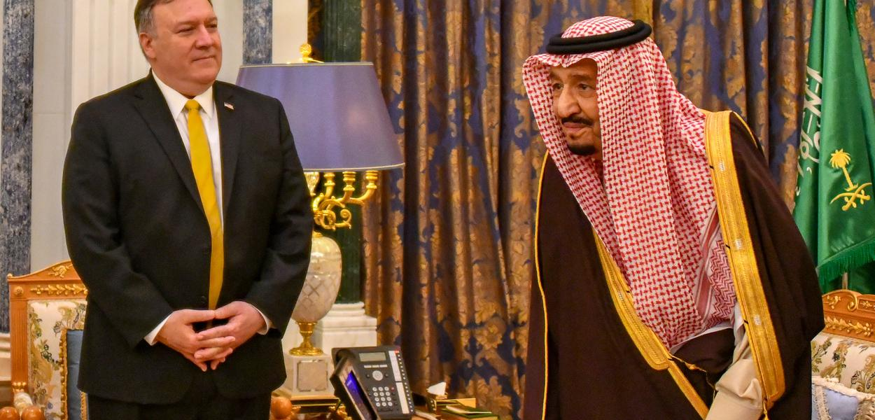 U.S. Secretary of State Michael R. Pompeo meets with Saudi King Salman bin Abdul-Aziz in Riyadh, Saudi Arabia, on January 14, 2019. [State Department photo/ Public Domain]