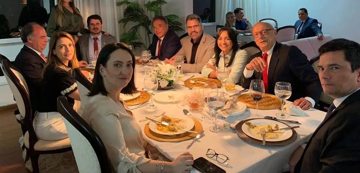 Sérgio Moro, durante jantar com senadores após a aprovação, no Senado, da criminalização do abuso de autoridade
