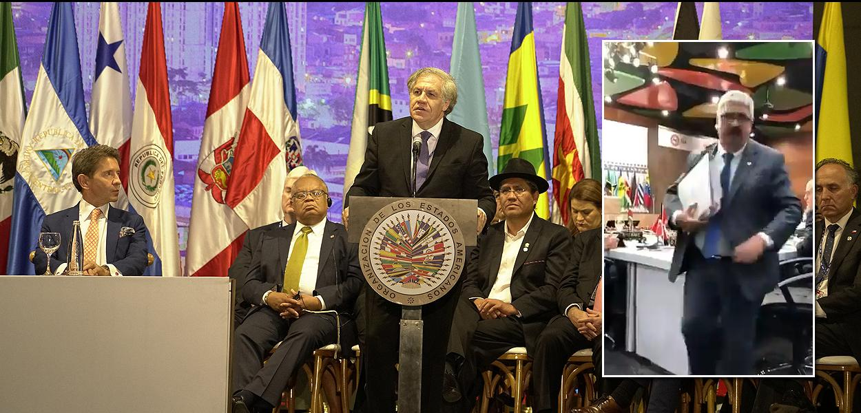 subsecretário de Relações Exteriores do Uruguai, Ariel Bergamino, abandona reunião da OEA em Medelín, Colômbia