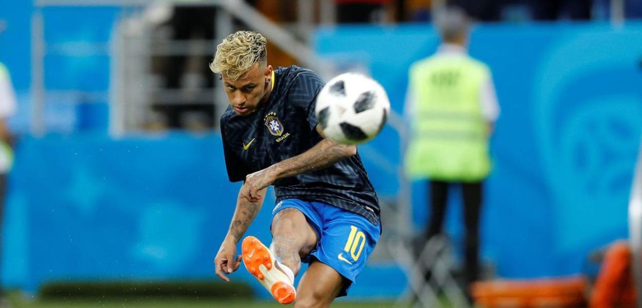 Neymar Jr., jogador da Seleção Brasileira e do Paris Saint-Germain, em treino