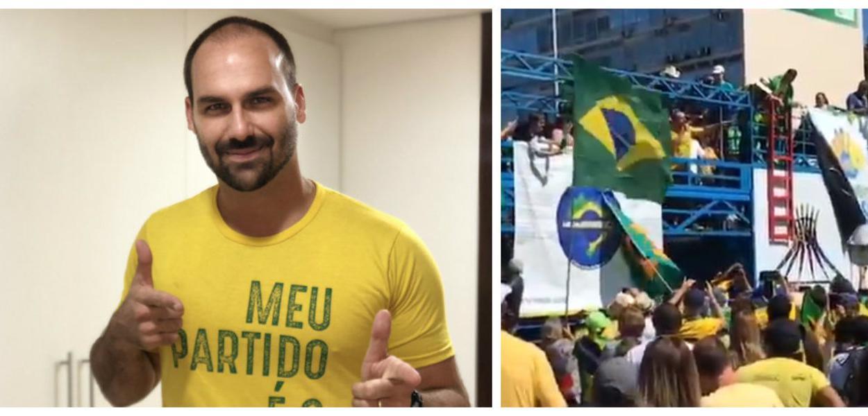 Eduardo Bolsonaro paticipa de manifestação em favor de Sérgio Moro em Brasília