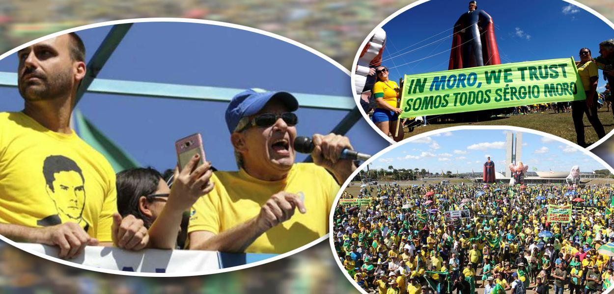 General Heleno discursa em ato pró Moro e Bolsonaro