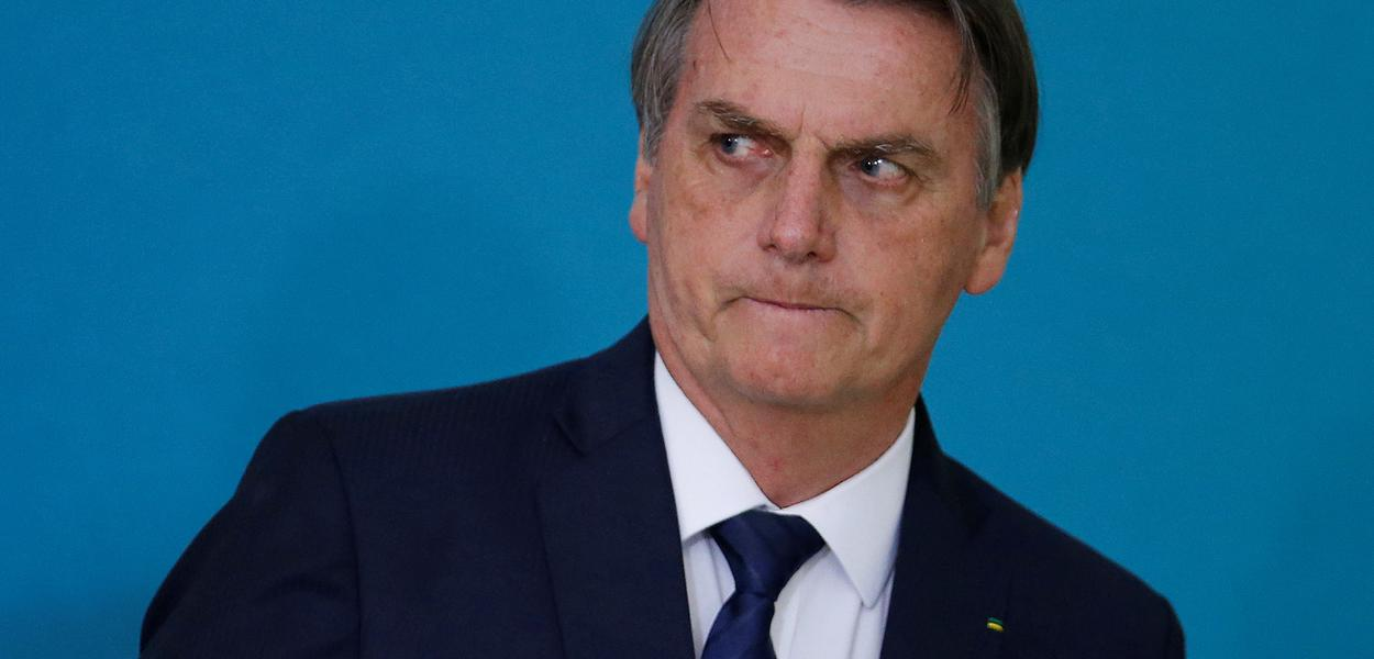Brazil's President Jair Bolsonaro attends a ceremony for the presentation of the 2nd phase of the advertising campaign of the pension reform bill at the Planalto Palace in Brasilia, Brazil May 20, 2019. REUTERS/Adriano Machado
