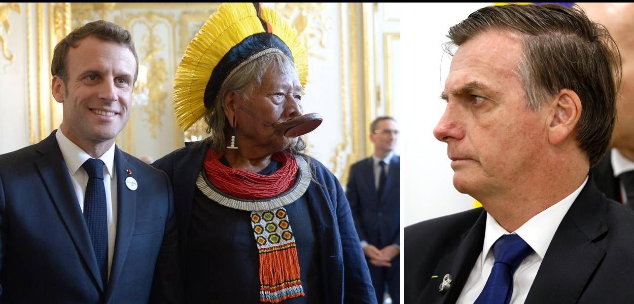 Raoni Macron e Bolsonaro