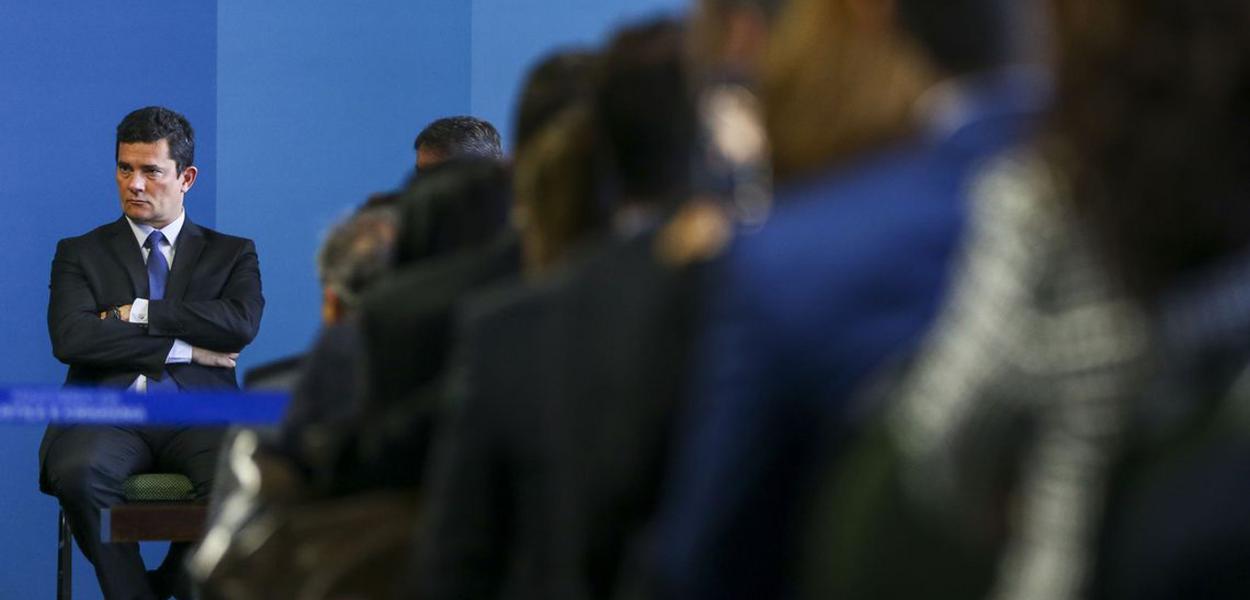 Brasiia DF - O ministro da Justiça e segurança , Sergio Moro, durante cerimonia para assinatura de Portaria Interministerial
