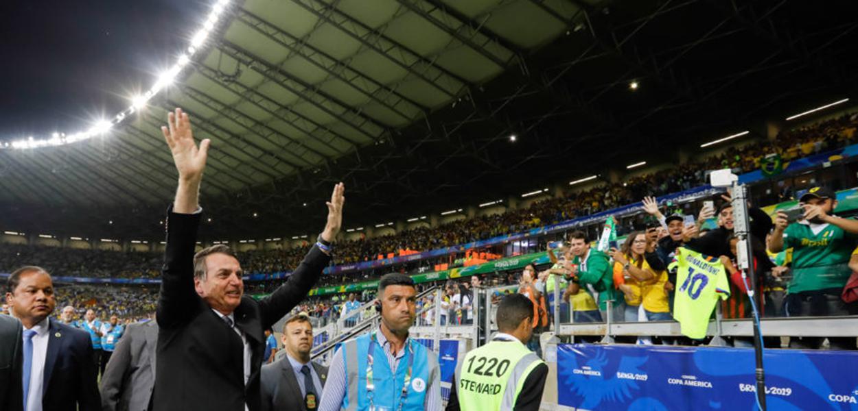 (Belo Horizonte - MG, 02/07/2019) Presidente da República, Jair Bolsonaro durante partida de futebol Brasil e Argentina.\rFoto: Carolina Antunes/PR