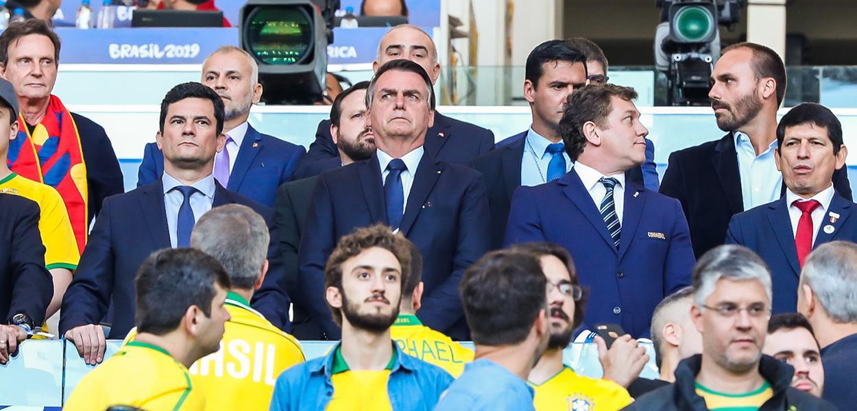 (Rio de Janeiro - RJ, 07/07/2019) Presidente da República, Jair Bolsonaro, durante a final da Copa América 2019, entre as seleções do Brasil e Peru.Foto: Clauber Cleber Caetano/PR