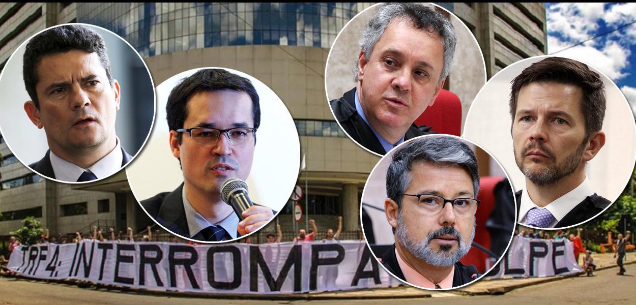 Sergio Moro, Deltan Dallagnol e os juízes do TFR-4 Gebran Neto, Victor Laus e Leandro Paulsen