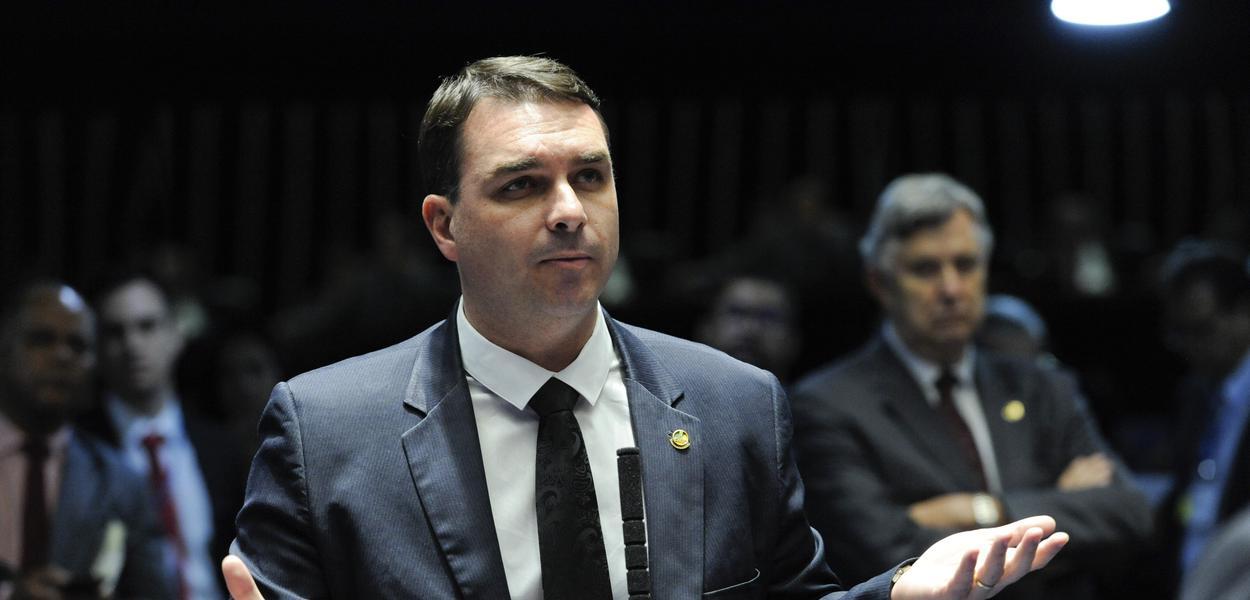 Plenário do Senado Federal durante sessão deliberativa ordinária. Em pronunciamento, à bancada, senador Flávio Bolsonaro (PSL-RJ).Foto: Roque de Sá/Agência Senado