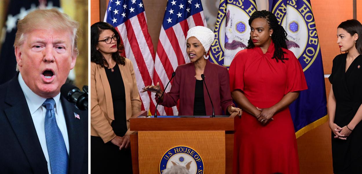 Presidente dos EUA, Donald Trump e deputadas Rashida Tlaib, Ilhan Omar, Ayanna Pressley e Alexandria Ocasio-Cortez