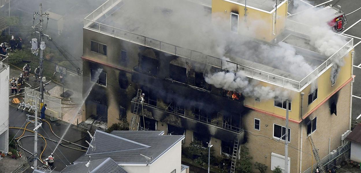 Fogo tomou conta de parte do prédio da Kyoto Animation