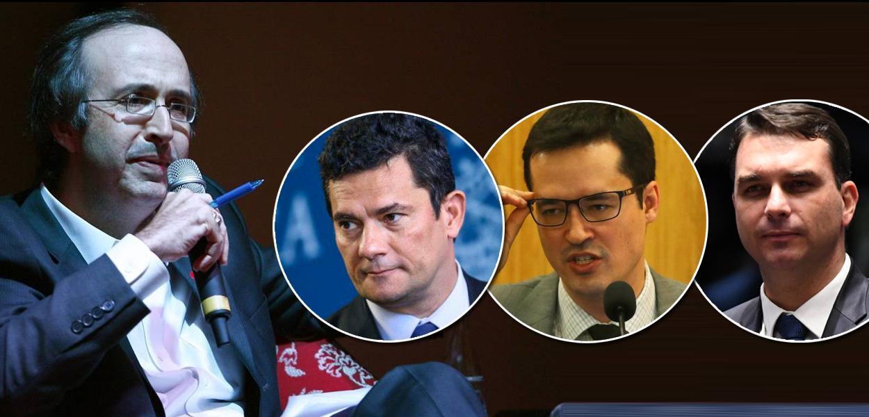 Reinaldo Azevedo, Sergio Moro, Deltan Dallagnol e Flavio Bolsonaro