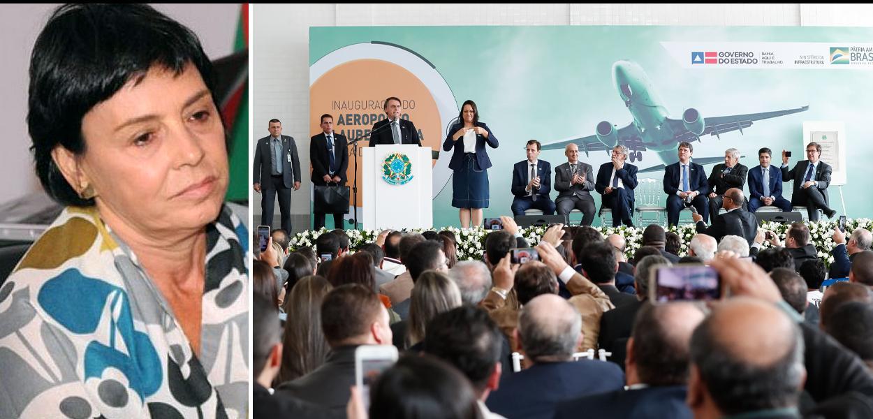 Cineasta Paloma Rocha, filha de Glauber Rocha, e Jair Bolsonaro inaugurando aeroporto em Vitória da Conquista, na Bahia.
