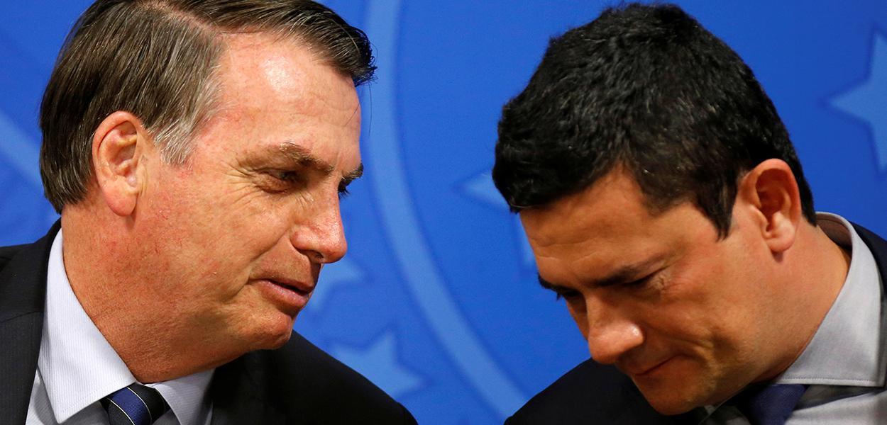 Presidente Jair Bolsonaro e ministro da Justiça, Sergio Moro