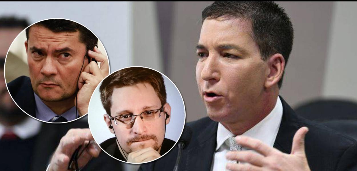 Glenn Greenwald, Edward Snowden e Sergio Moro.